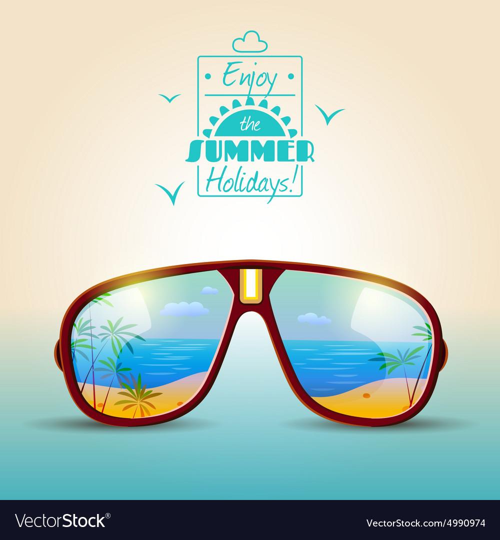 Sunglasses summer poster vector