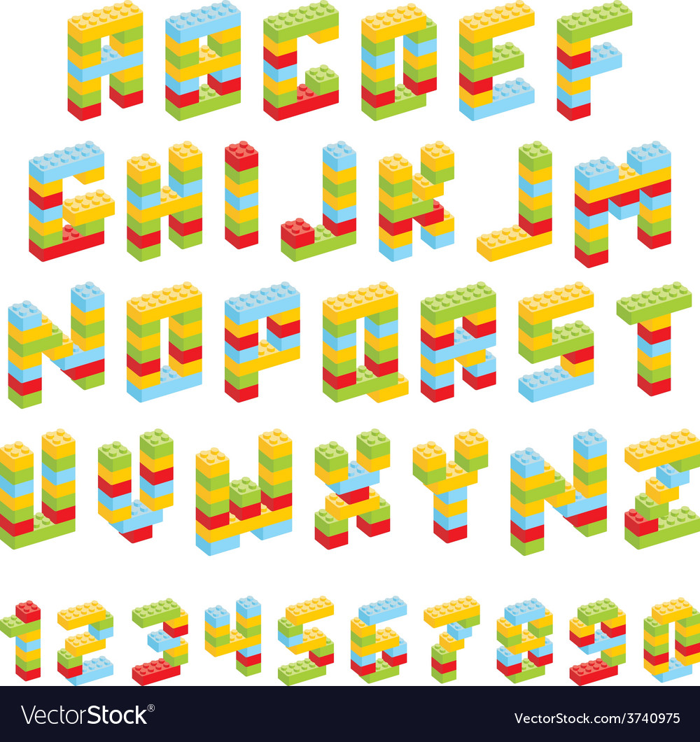 Alphabet set made of toy blocks isolated vector | Price: 1 Credit (USD $1)