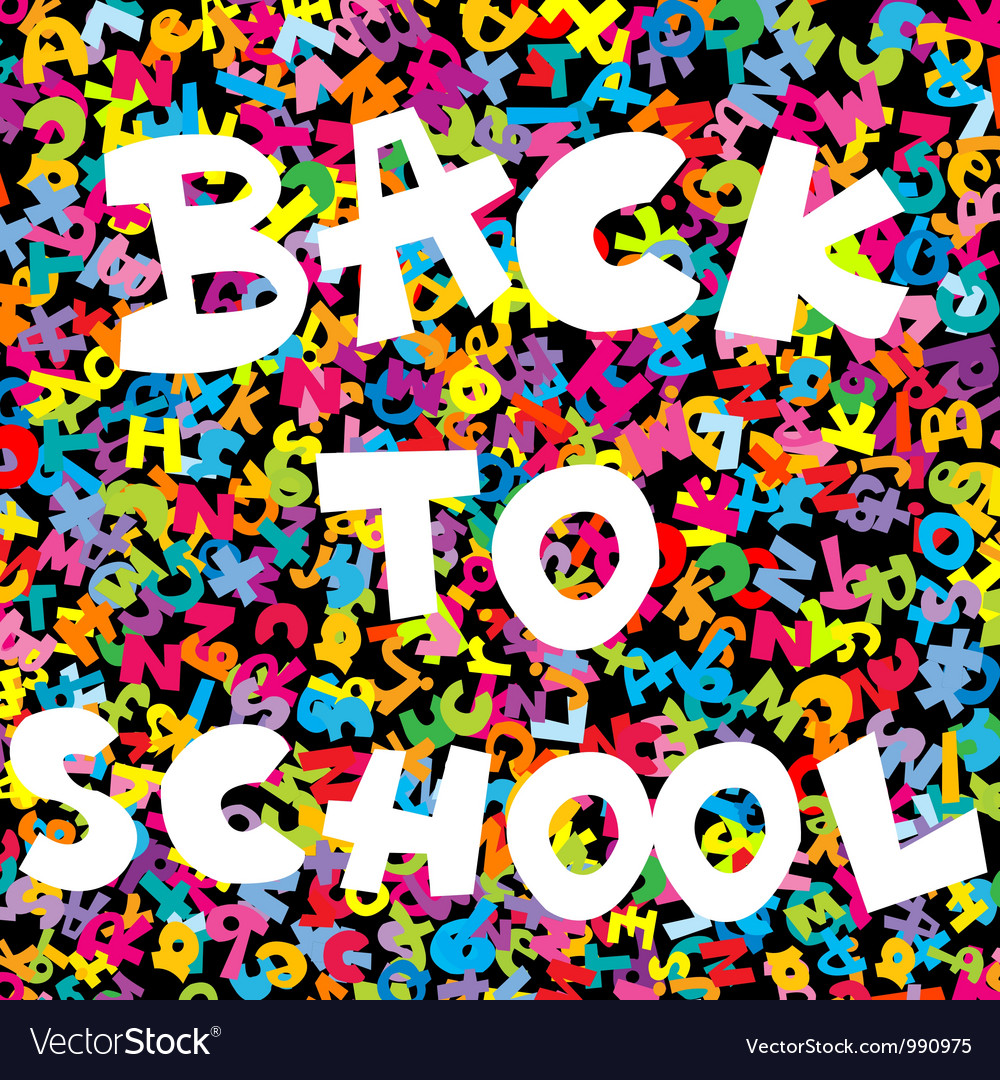Back to school background with colored letters vector | Price: 1 Credit (USD $1)