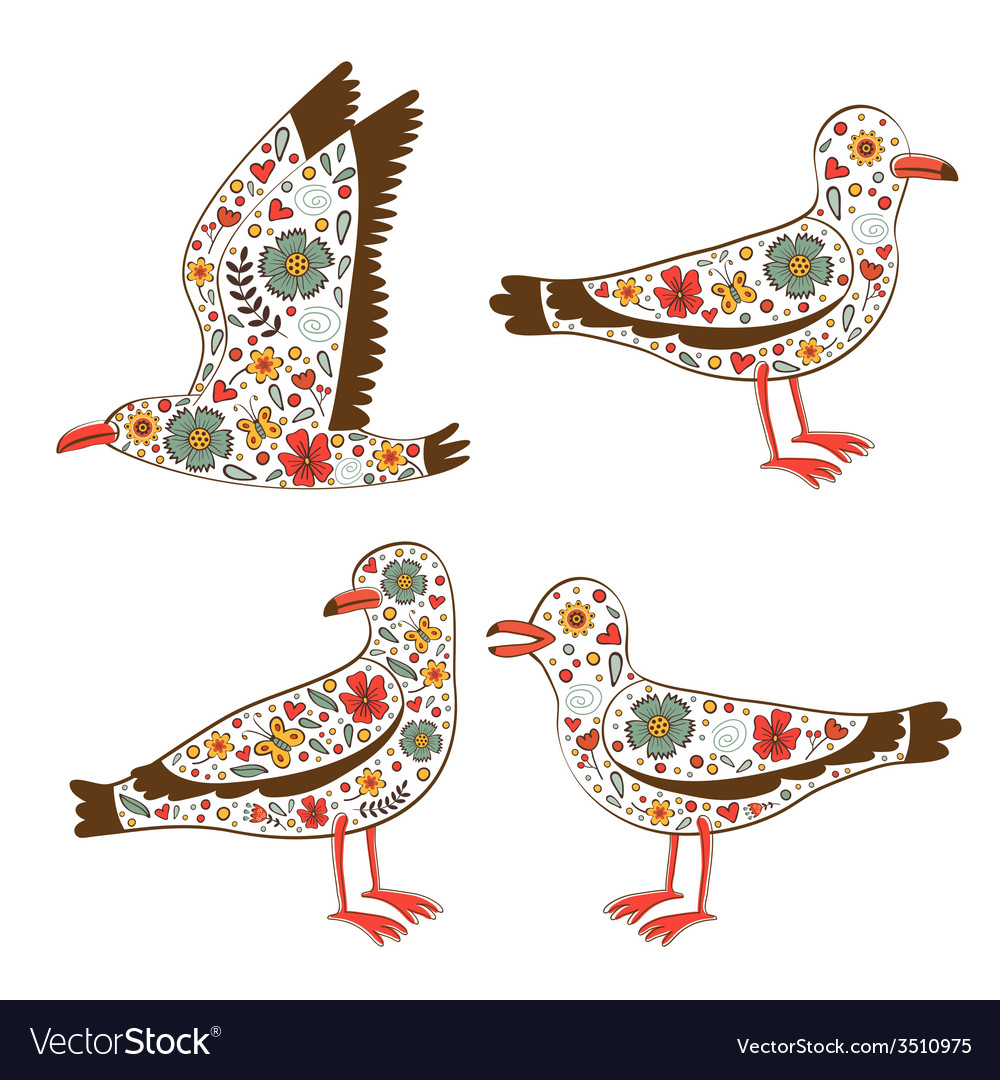 Beautiful collection of floral seagulls vector | Price: 1 Credit (USD $1)