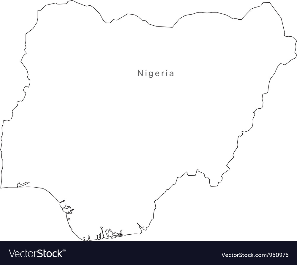 Black white nigeria outline map vector | Price: 1 Credit (USD $1)