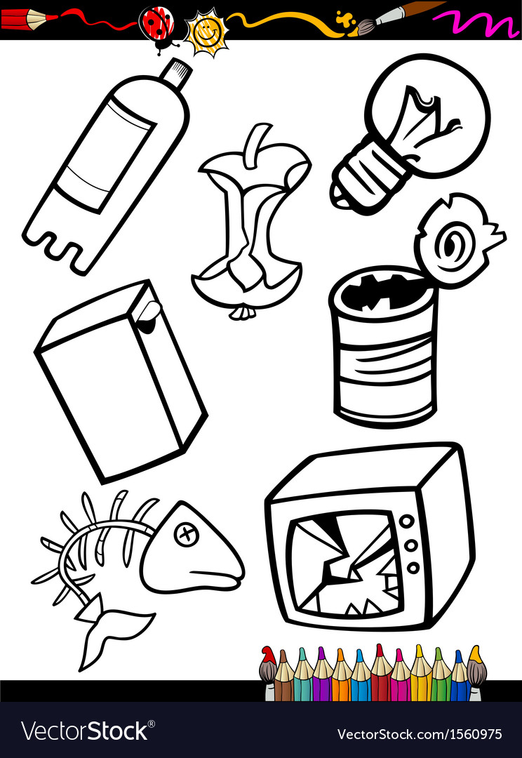 Cartoon garbage objects coloring page vector | Price: 1 Credit (USD $1)