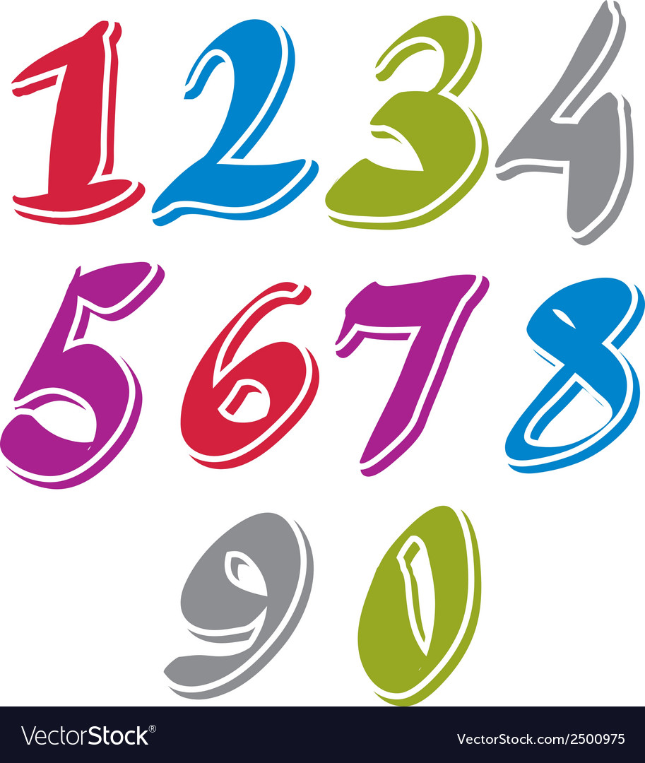 Contemporary handwritten digits numerals vector | Price: 1 Credit (USD $1)