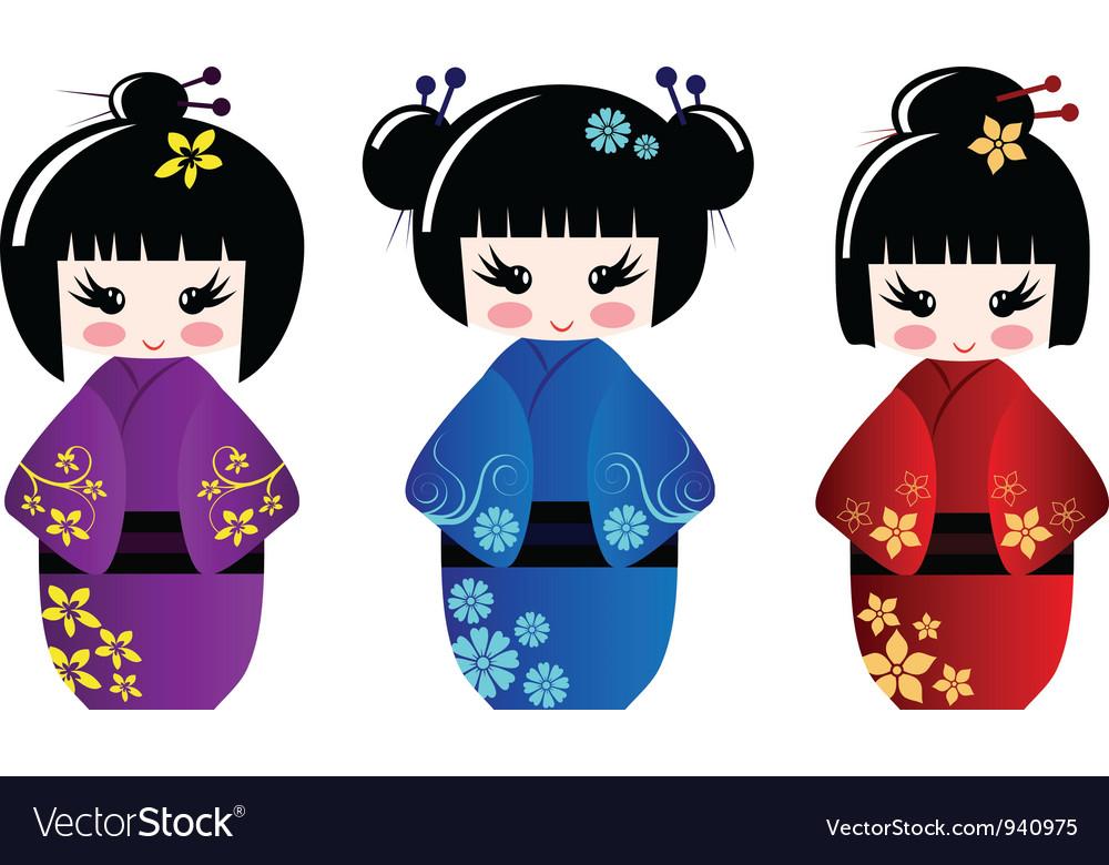 Cute kokeshi dolls vector | Price: 1 Credit (USD $1)