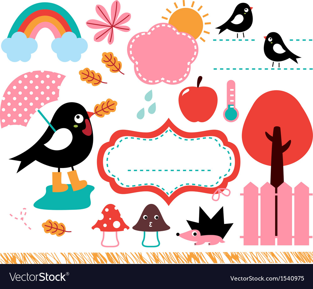 Cute swallow and autumn elements set vector | Price: 1 Credit (USD $1)