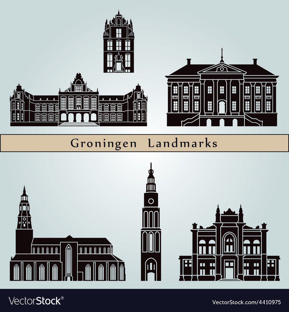 Groningen landmarks and monuments vector | Price: 1 Credit (USD $1)