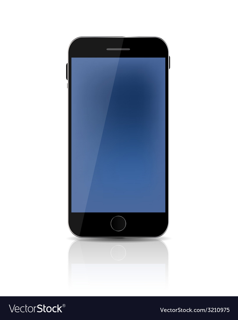 New realistic mobile phone with blue screen vector | Price: 1 Credit (USD $1)