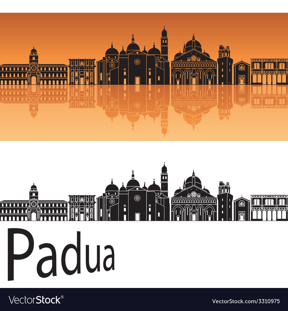 Padua skyline in orange background vector | Price: 1 Credit (USD $1)
