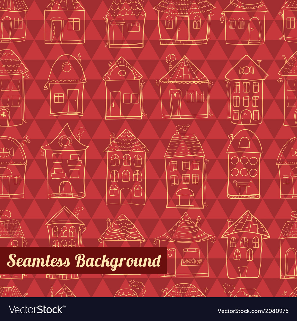 Seamless pattern outline cute houses vector | Price: 1 Credit (USD $1)