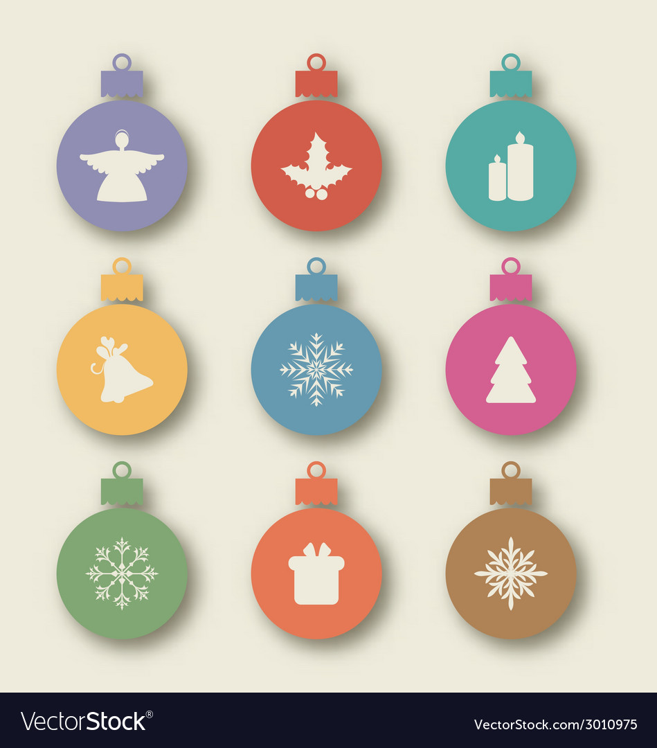 Set christmas balls with traditional elements - vector | Price: 1 Credit (USD $1)