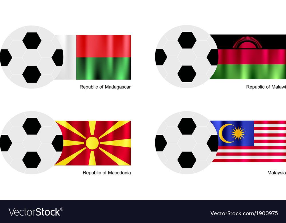 Soccer ball of madagascar malawi macedonia vector | Price: 1 Credit (USD $1)
