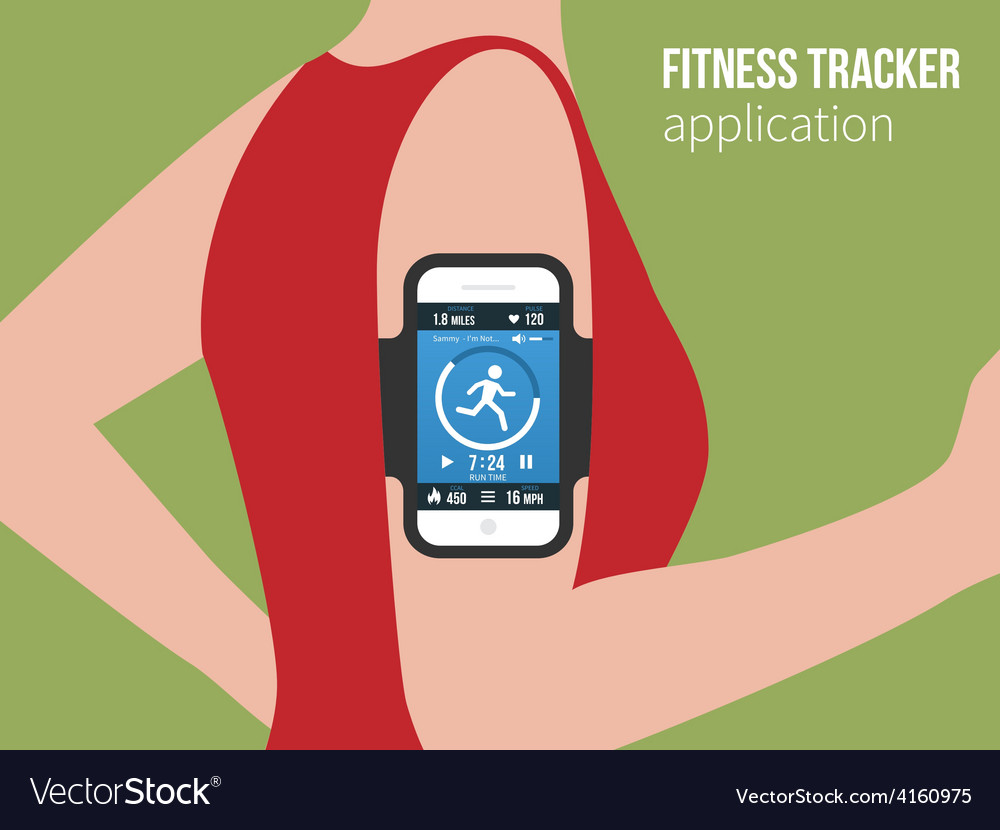 Sports or fitness tracking app for running people vector | Price: 1 Credit (USD $1)