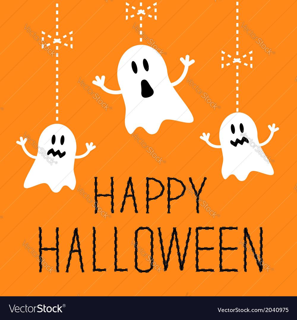 Three hanging halloween ghosts card vector | Price: 1 Credit (USD $1)