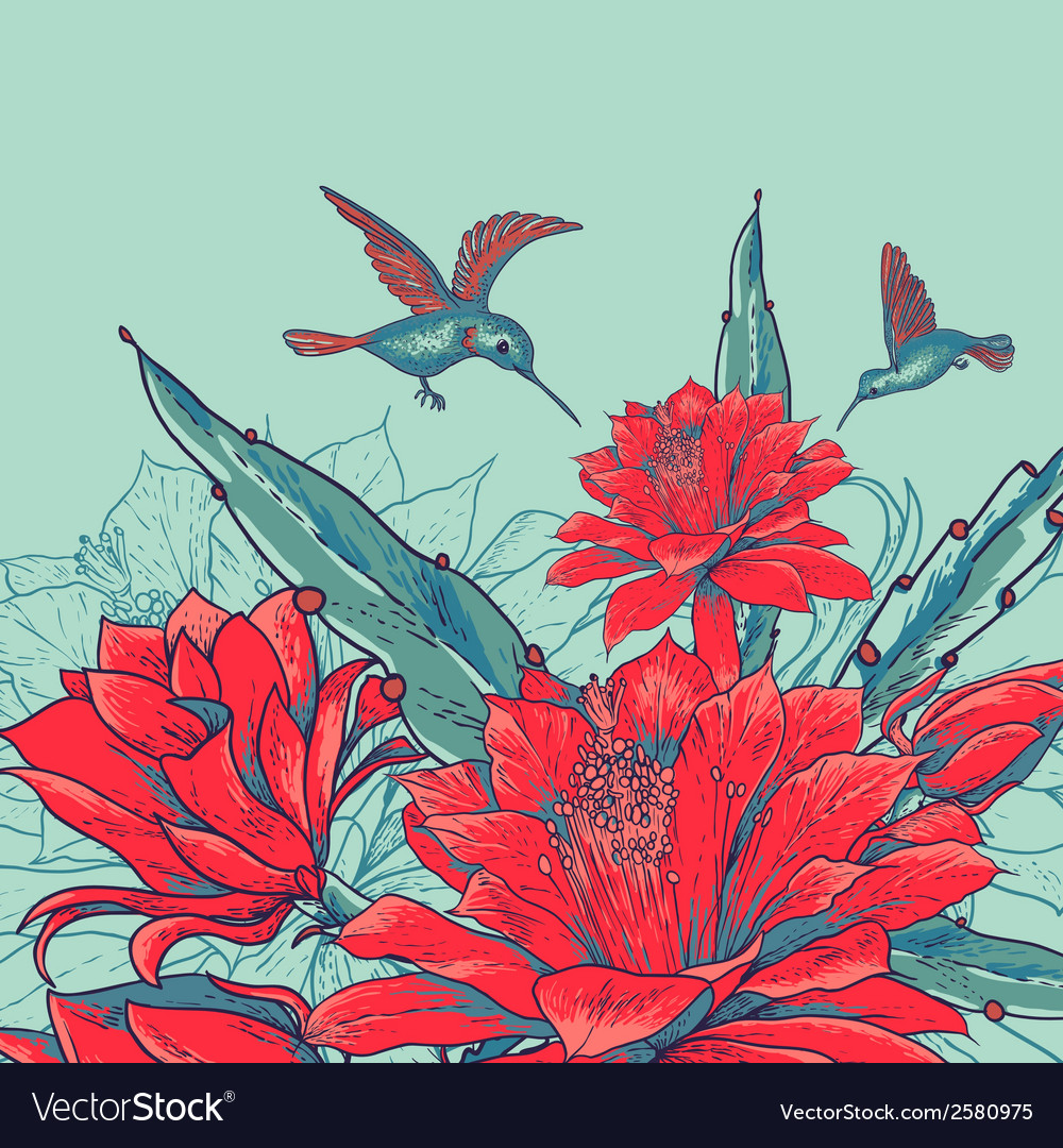 Vintage card with red flowers and hummingbirds vector | Price: 1 Credit (USD $1)