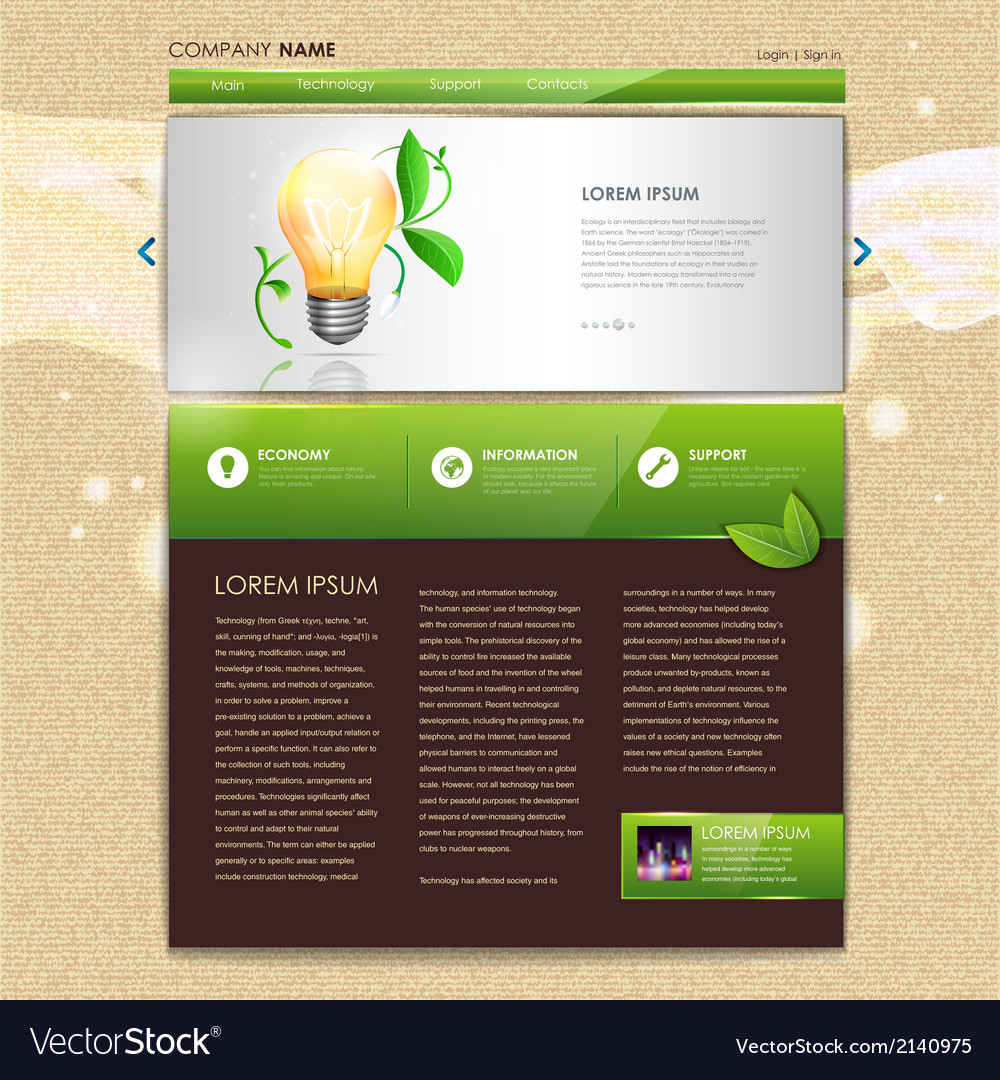 Website template design ecology background vector | Price: 1 Credit (USD $1)
