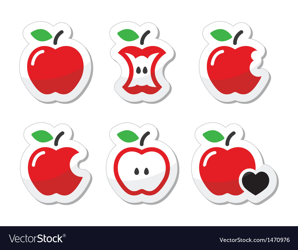 Apple apple core bitten half labels set vector | Price: 1 Credit (USD $1)
