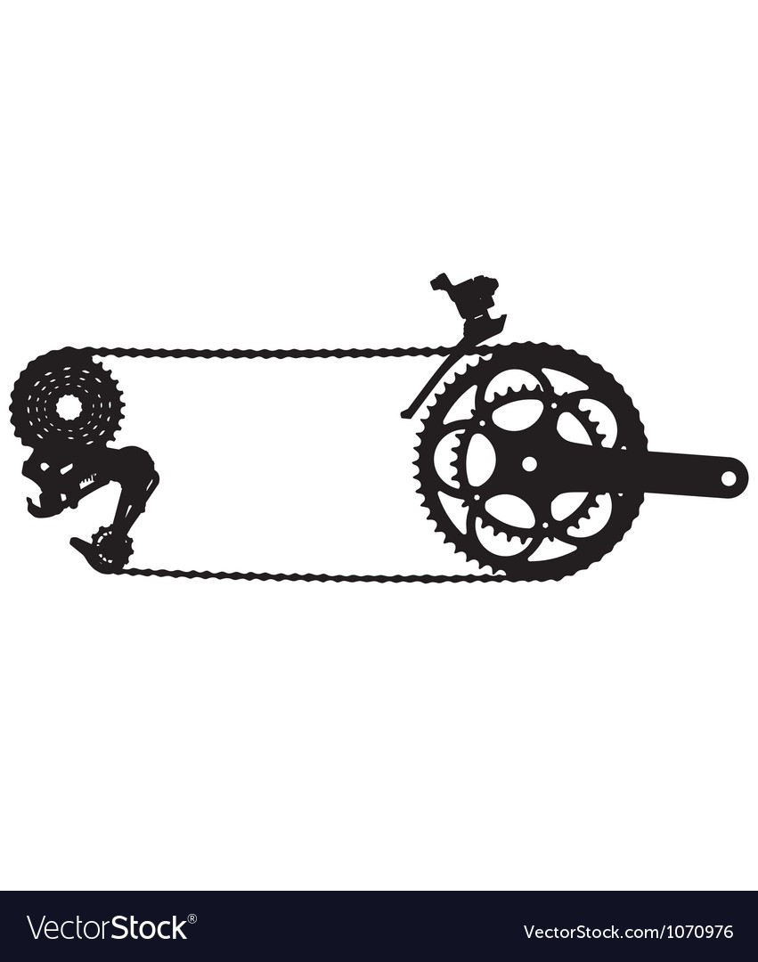 Bicycle drive chain silhouette vector | Price: 1 Credit (USD $1)
