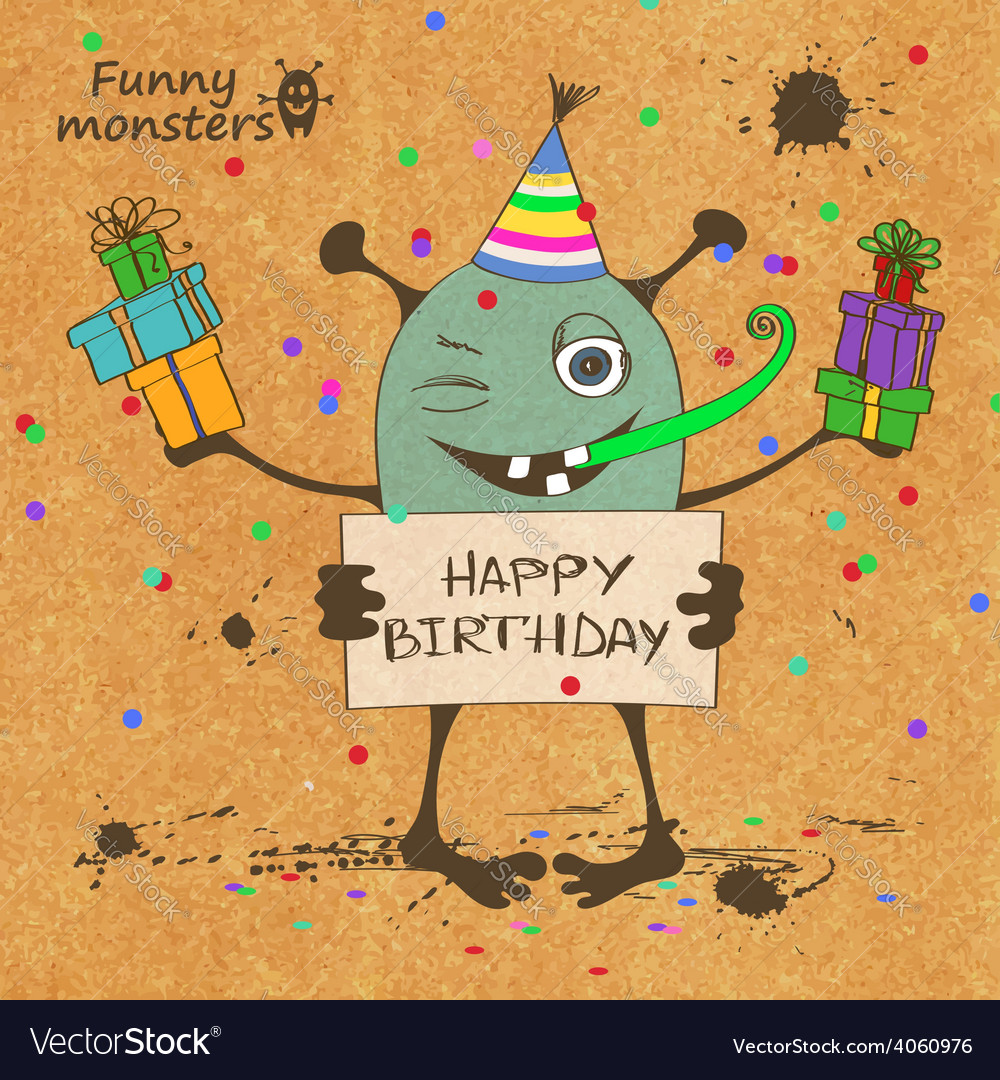 Birthday card with funny monster vector | Price: 1 Credit (USD $1)