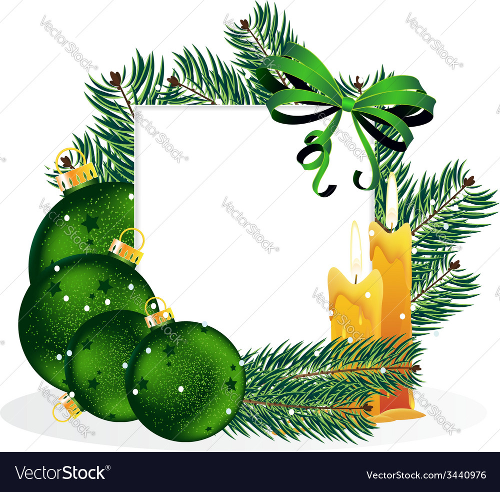 Christmas ornaments and pine tree branches vector | Price: 3 Credit (USD $3)