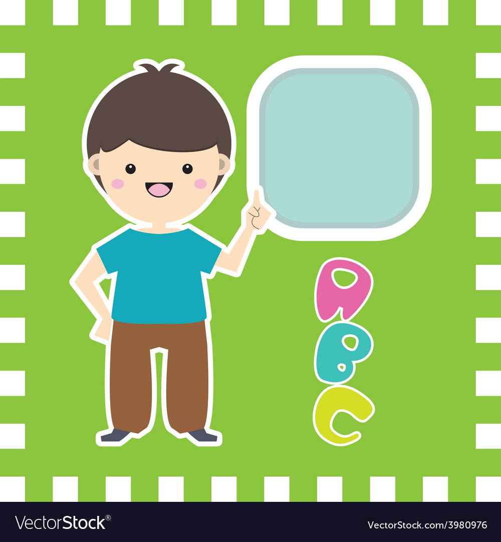 Cute little cartoon boy with place for your text vector | Price: 1 Credit (USD $1)