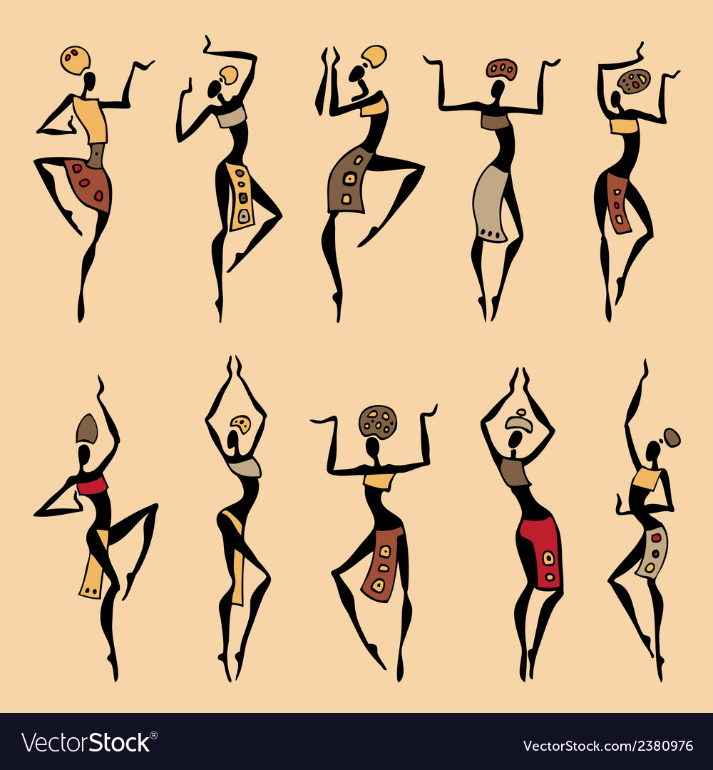 Dancing woman in ethnic style vector | Price: 1 Credit (USD $1)