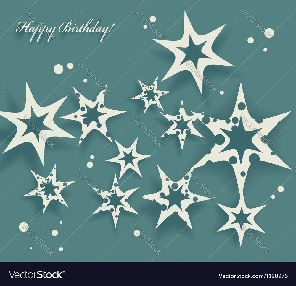 Elegant birthday card with stars vector | Price: 1 Credit (USD $1)