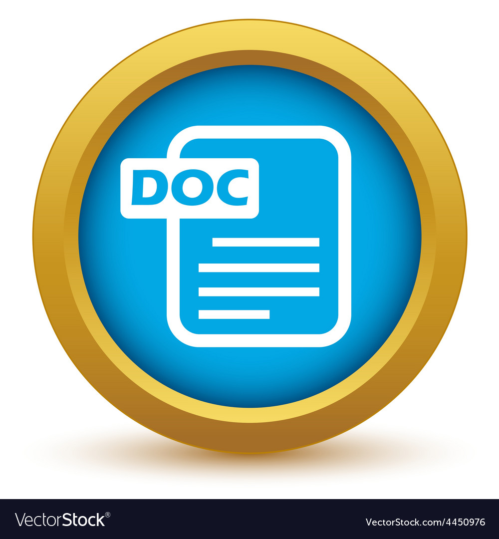 Gold doc icon vector | Price: 1 Credit (USD $1)
