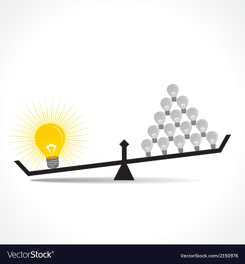 Many small idea compare with big idea concept vector | Price: 1 Credit (USD $1)
