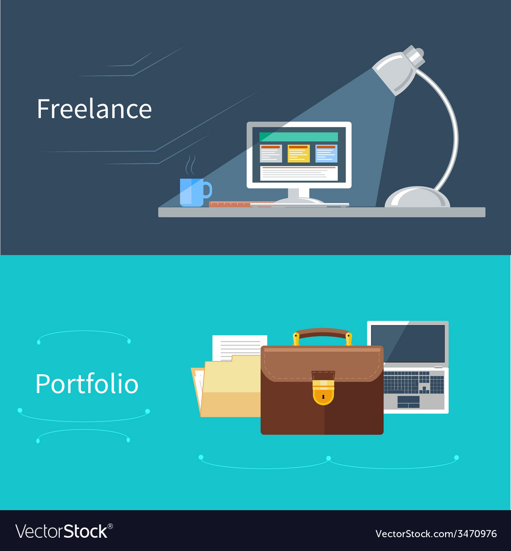 Set of flat concept for portfolio and freelance vector | Price: 1 Credit (USD $1)