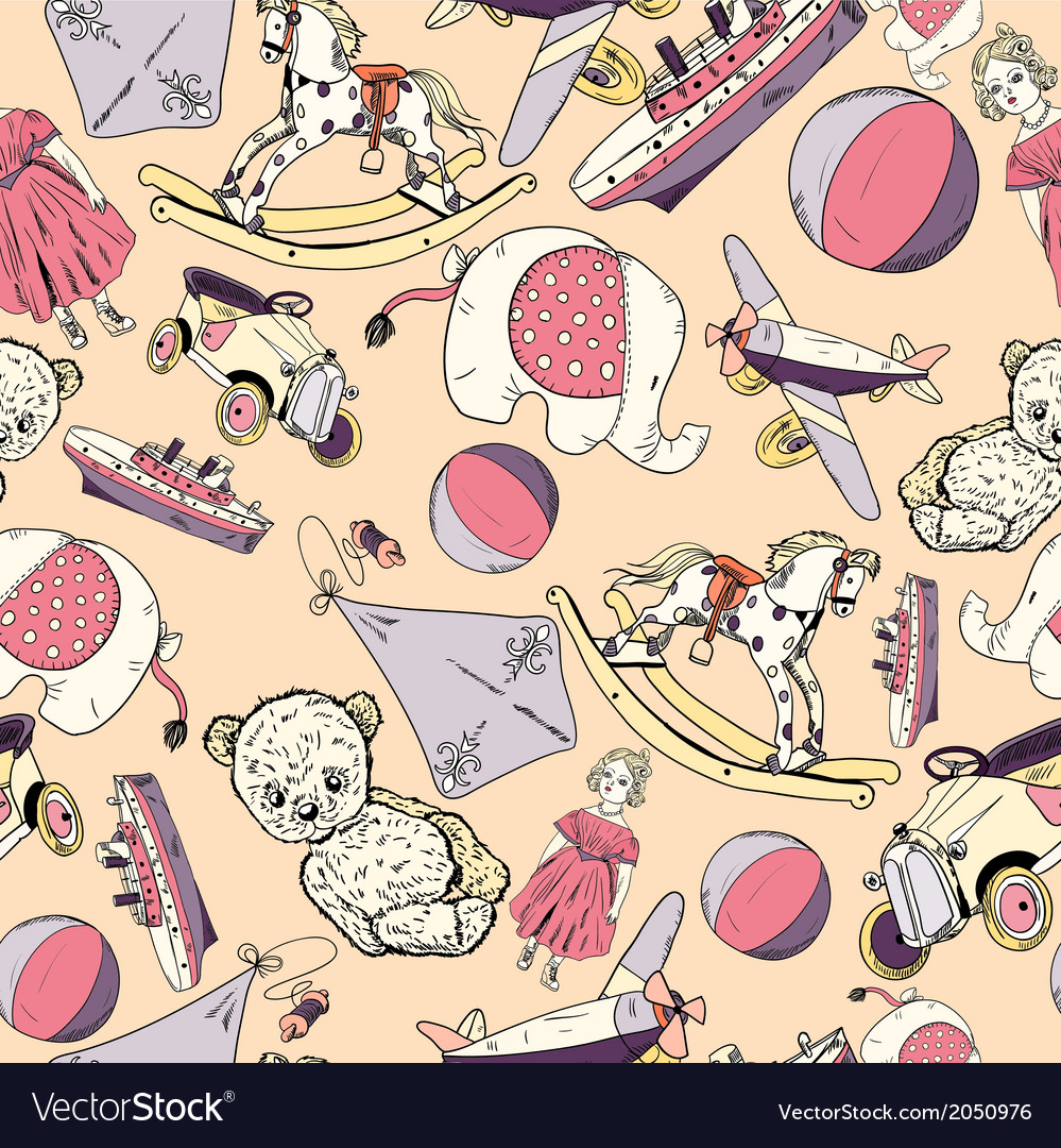 Toys sketch seamless pattern vector | Price: 1 Credit (USD $1)
