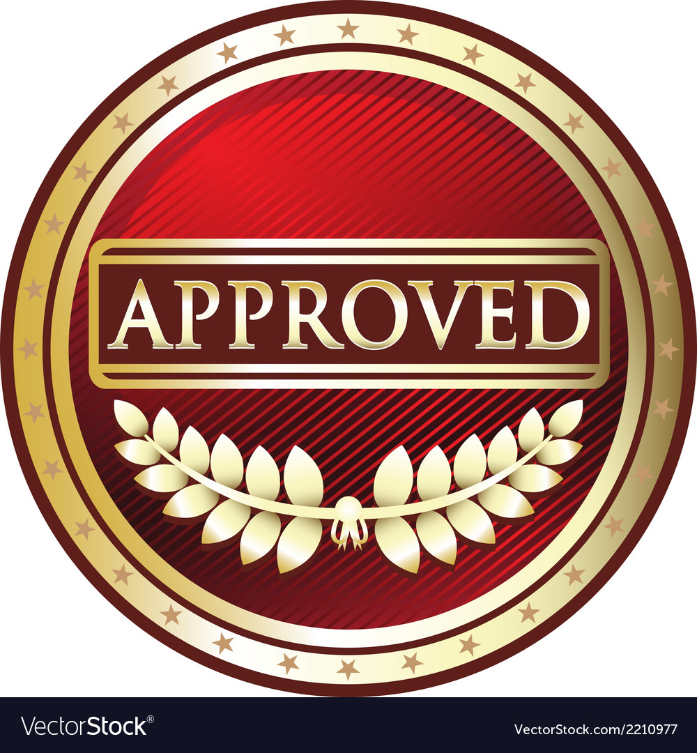 Approved red label vector | Price: 1 Credit (USD $1)