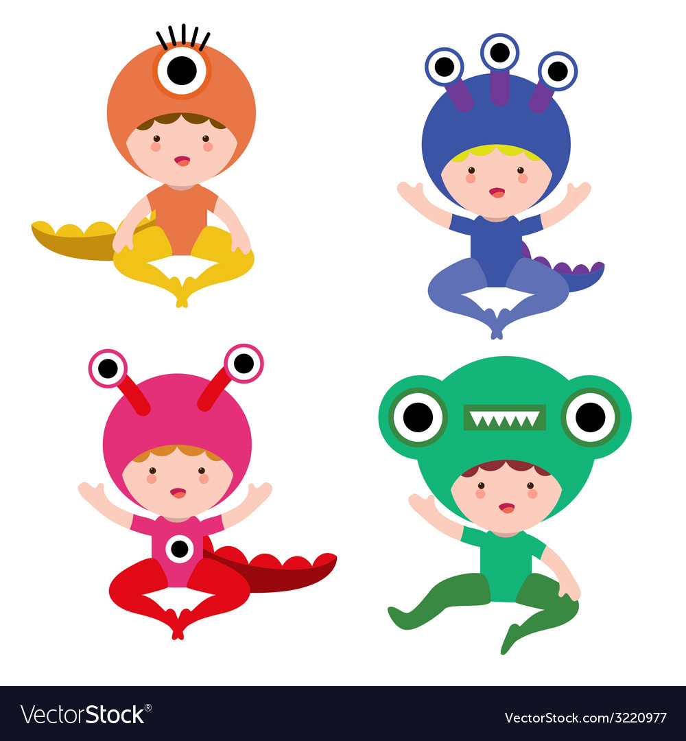 Baby in monster costume set vector | Price: 1 Credit (USD $1)
