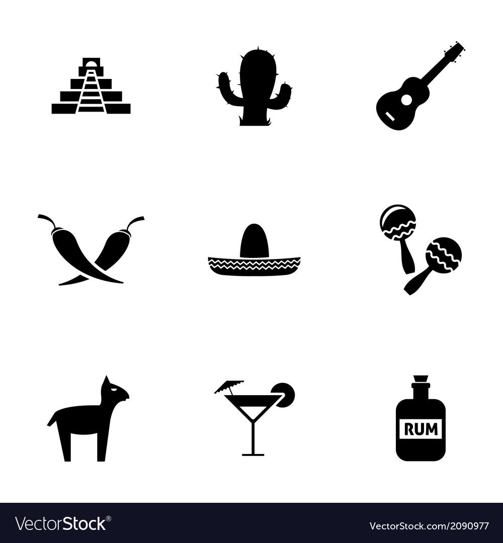 Black mexico icons set vector   Price: 1 Credit (USD $1)