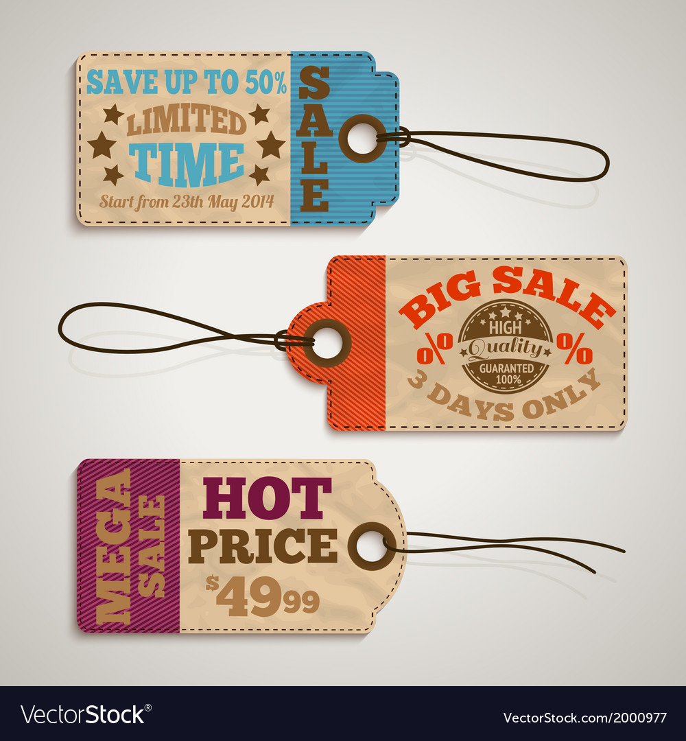 Collection of cardboard sale price tags vector | Price: 1 Credit (USD $1)