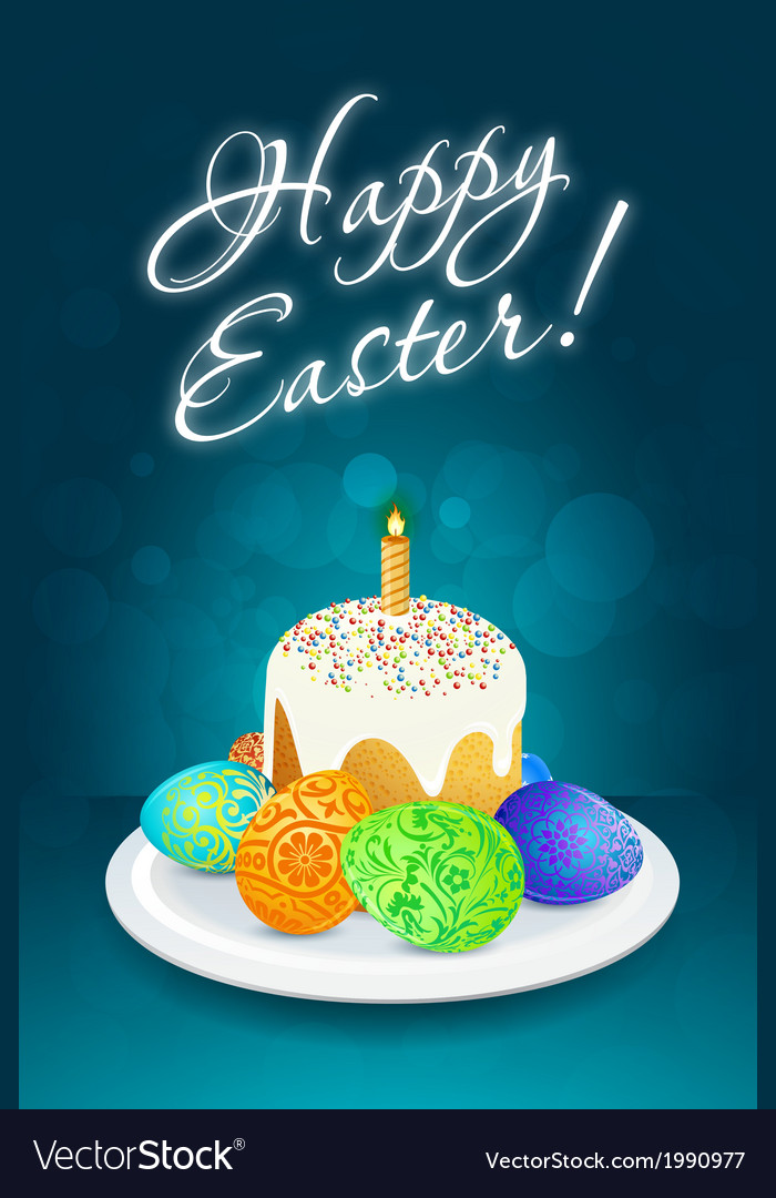 Easter card with cake vector | Price: 1 Credit (USD $1)