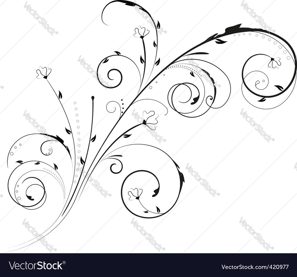 Floral swirl ornament vector | Price: 1 Credit (USD $1)