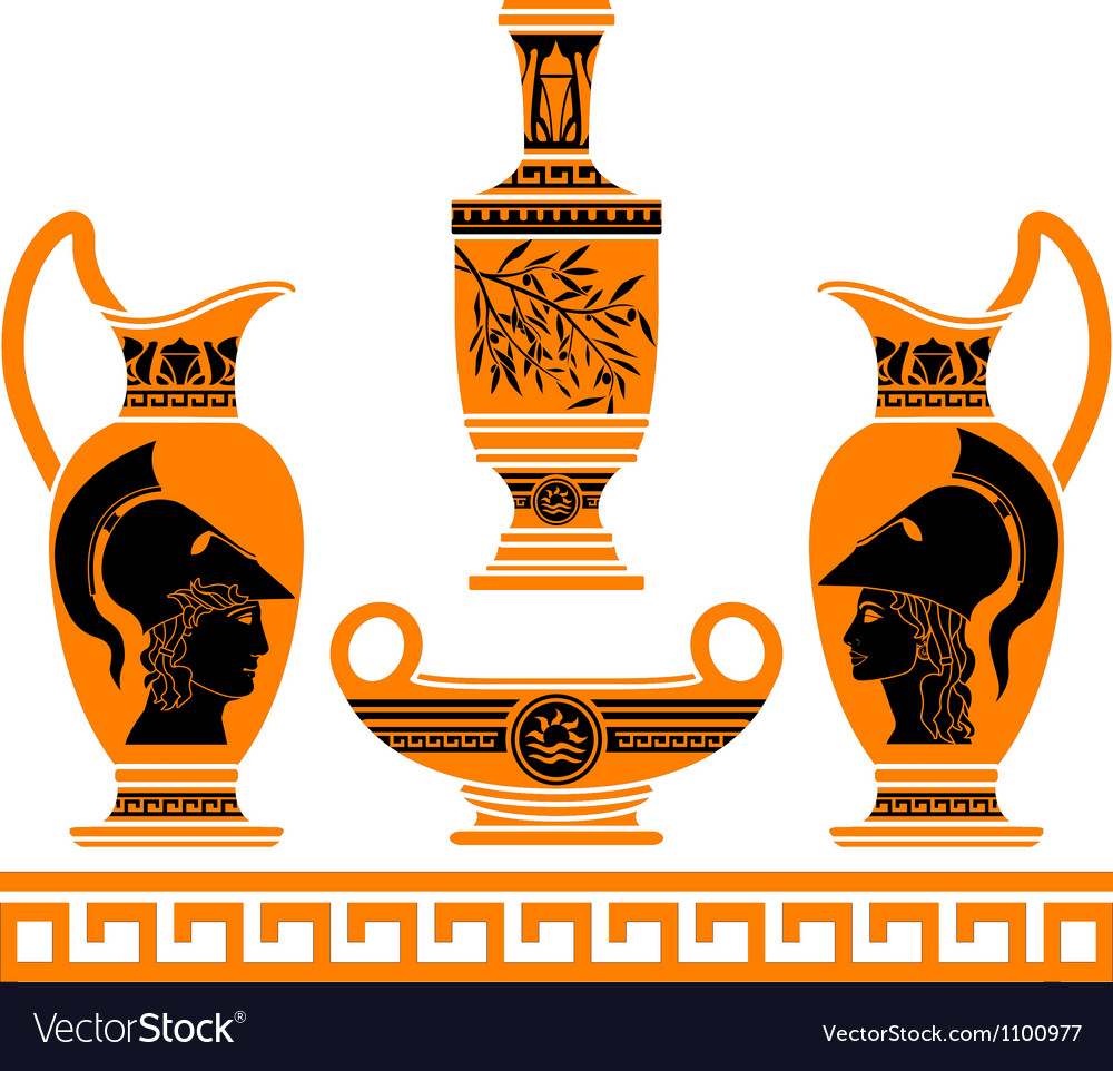Set of hellenic vases stencils vector | Price: 1 Credit (USD $1)