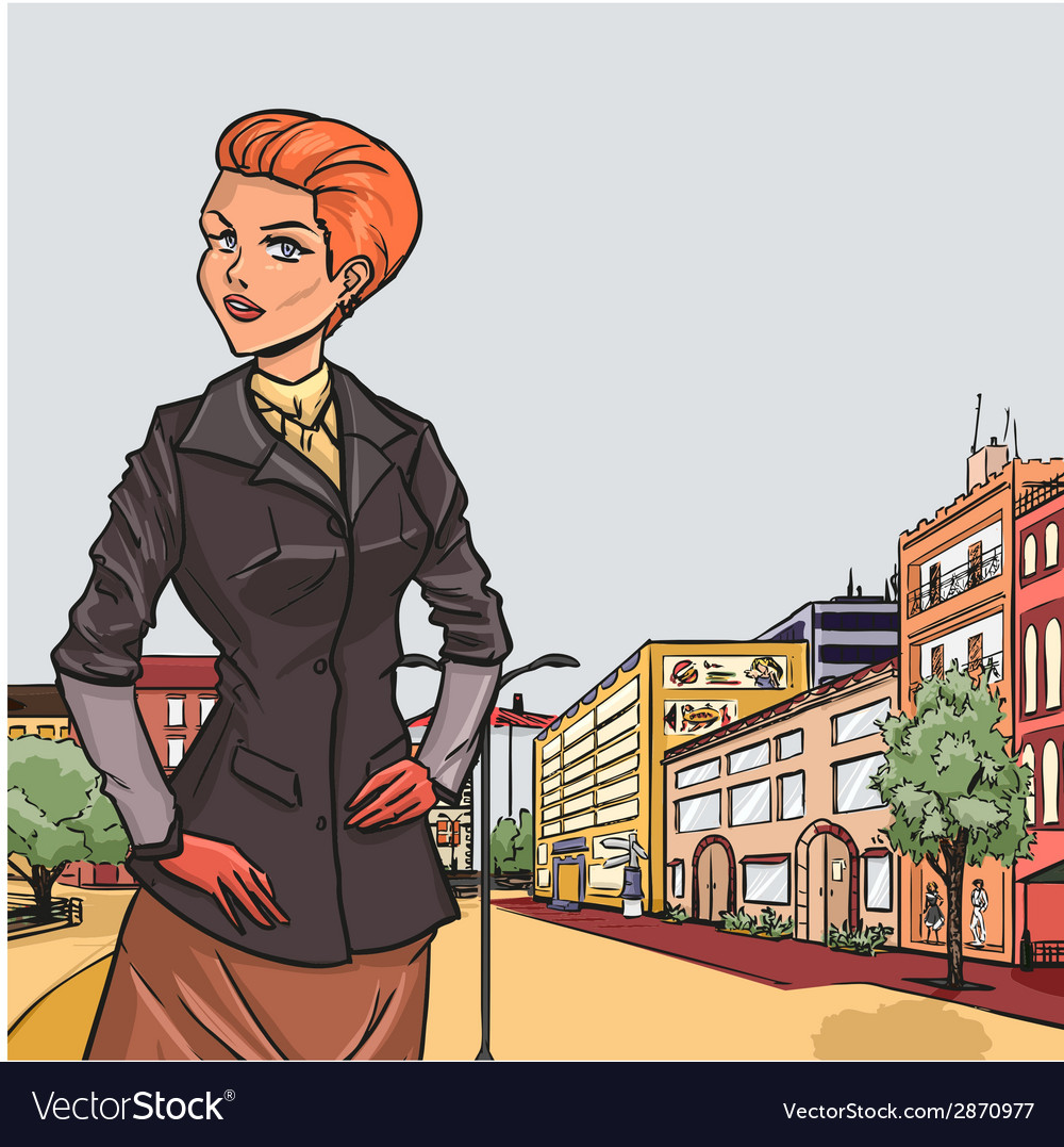 Urban panorama with elegant girl on front vector   Price: 3 Credit (USD $3)