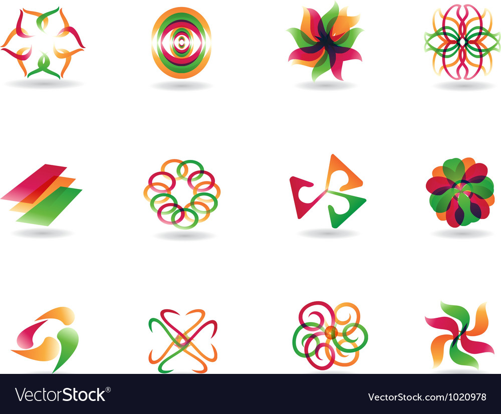 Abstract colorful icons vector | Price: 1 Credit (USD $1)