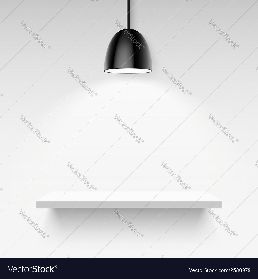 Black ceiling lamp and empty white shelf on a vector | Price: 1 Credit (USD $1)