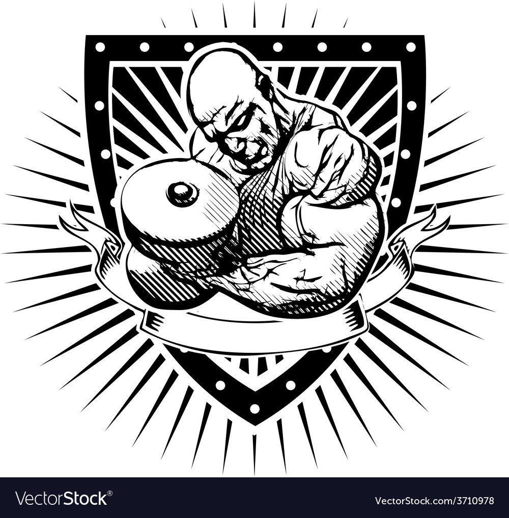 Bodybuilder shield vector | Price: 3 Credit (USD $3)