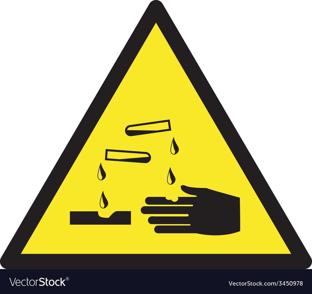 Danger corrosive safety sign vector