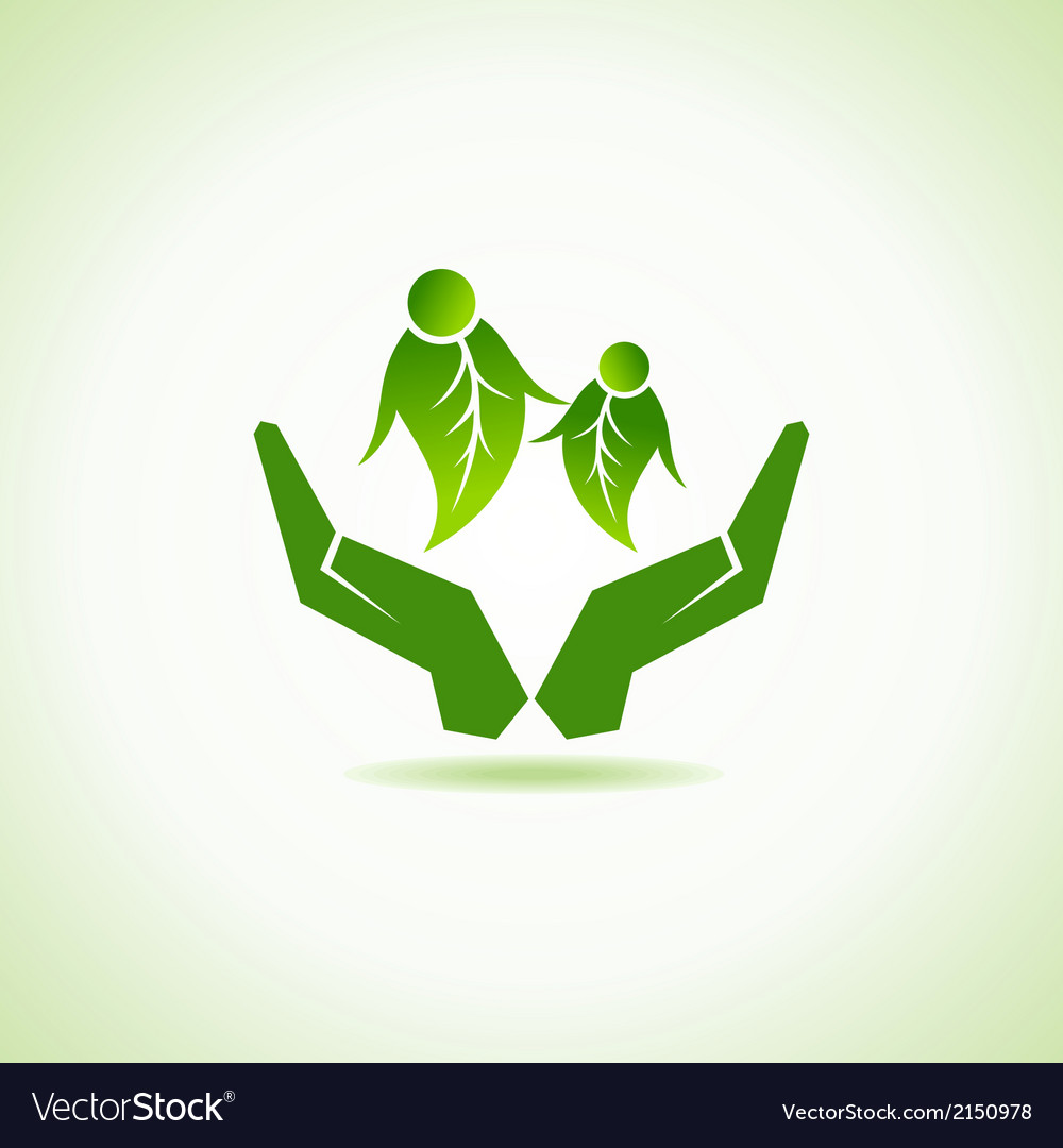 Eco-friendly couple under hand concept vector | Price: 1 Credit (USD $1)