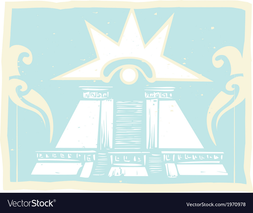 Mayan double pyramid with venus eye glyph vector | Price: 1 Credit (USD $1)