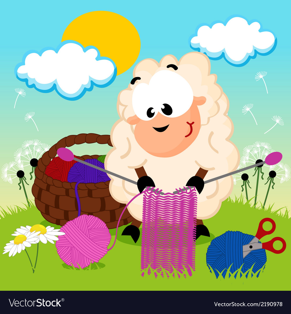 Sheep knits yarn vector | Price: 1 Credit (USD $1)