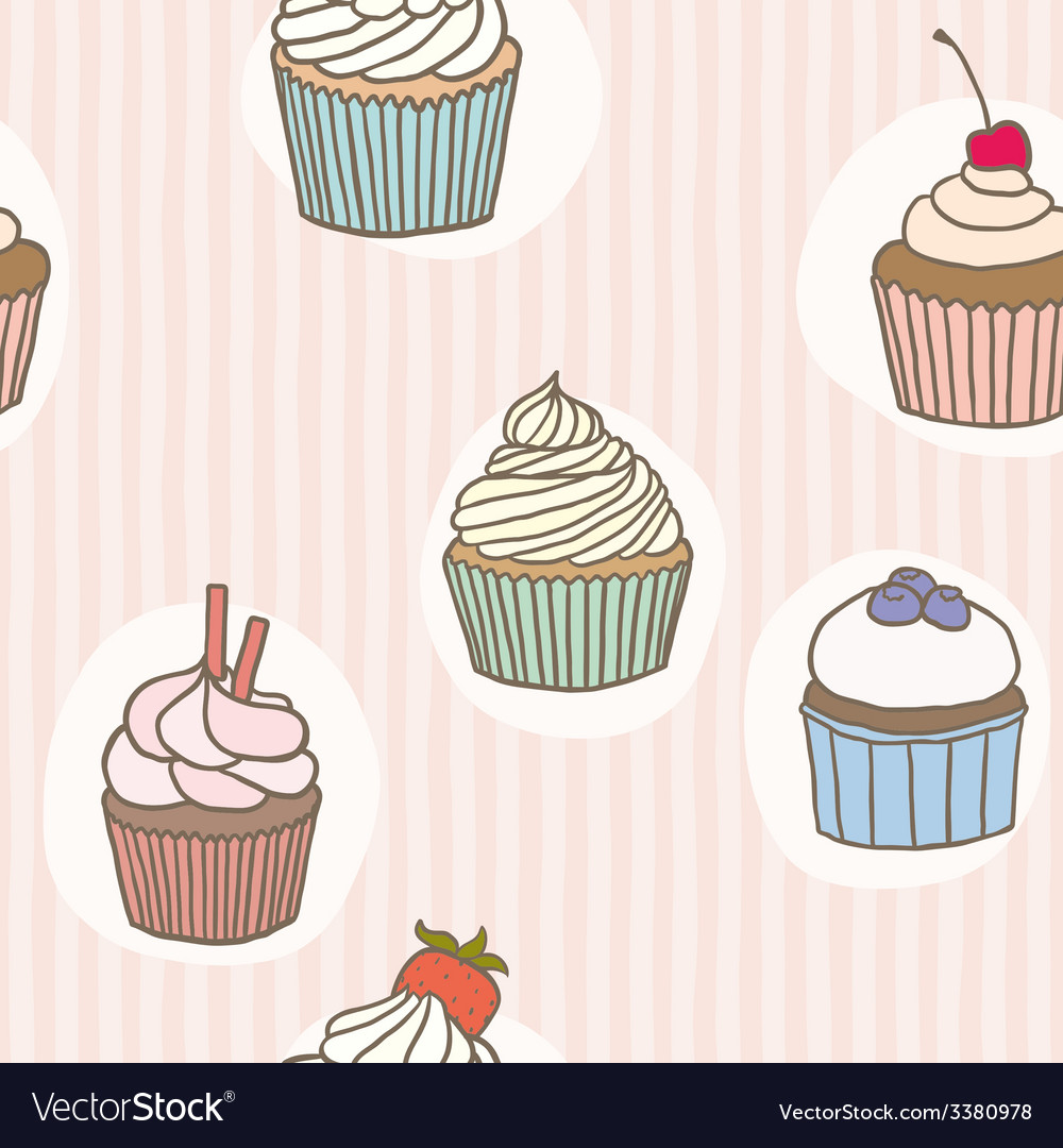 Stripes cupckes pattern vector | Price: 1 Credit (USD $1)