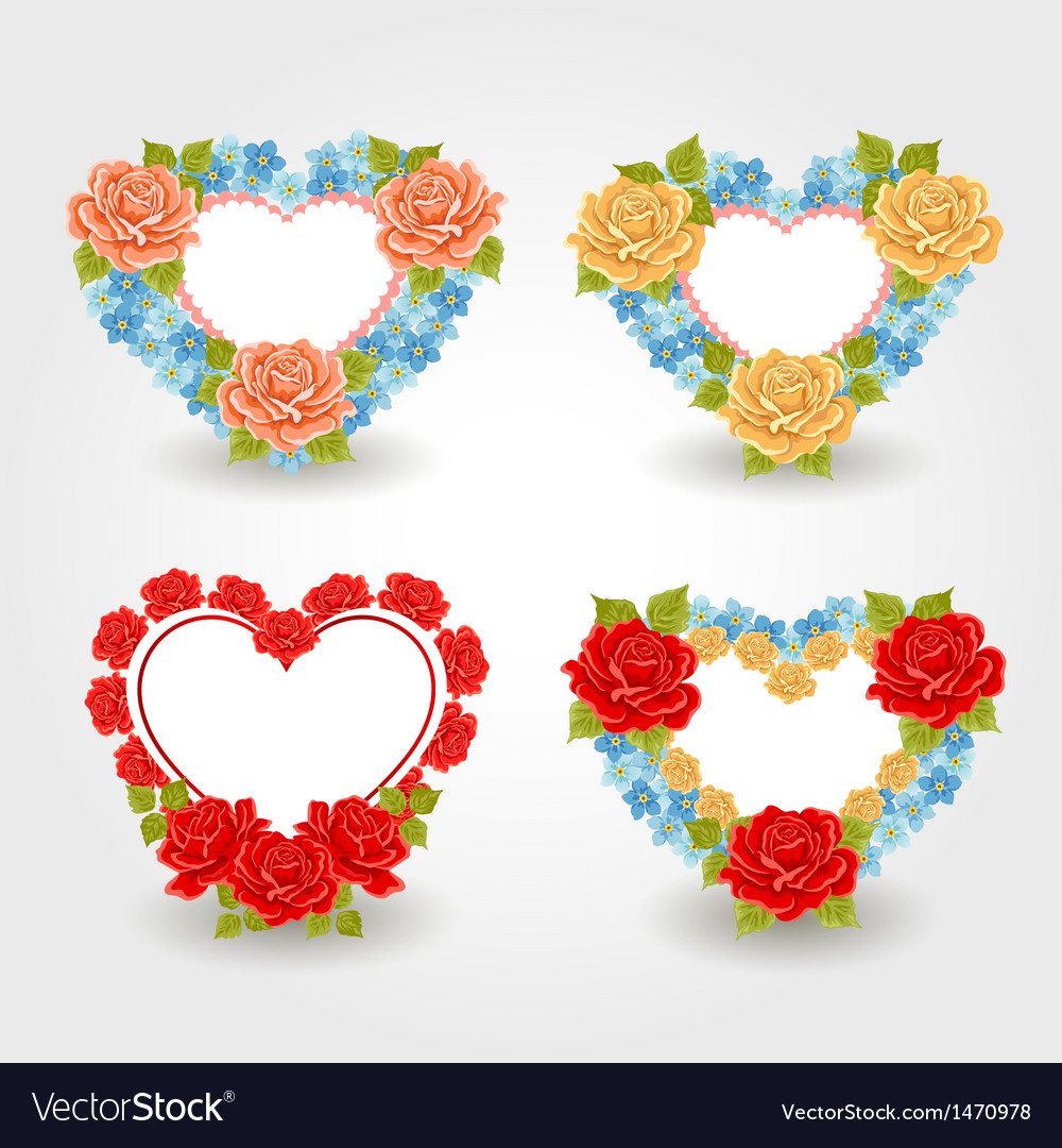 Valentines design elements floral hearts vector | Price: 1 Credit (USD $1)