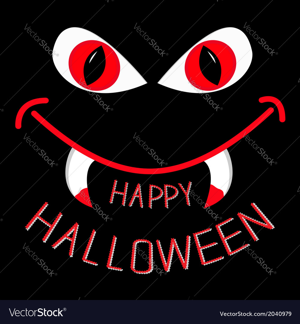Evil red eyes and mouth with fangs halloween vector | Price: 1 Credit (USD $1)