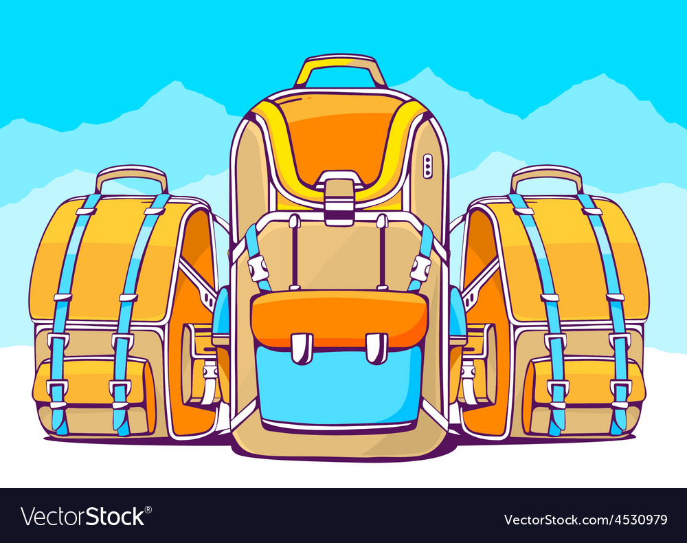 Fashion backpacks on blue winter backgrou vector | Price: 1 Credit (USD $1)