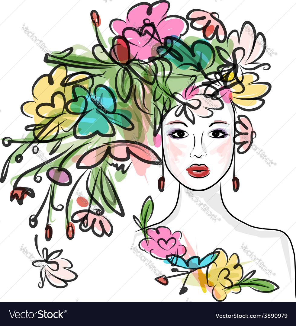 Female face with floral hairstyle for your design vector | Price: 1 Credit (USD $1)